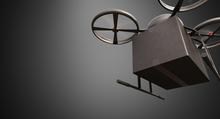 Carbon Material Generic Design Remote Control Air Drone Flying Black Box Under Empty Surface.Blank Gray Background.Global Cargo Express Delivery.Wide,Motion Blur effect.Front Bottom View 3D rendering