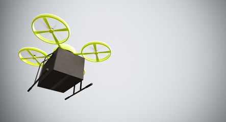 Green Color Material Generic Design Remote Control Air Drone Flying Black Box Under Empty Surface.Blank White Background.Global Cargo Express Delivery.Wide,Motion Blur effect.Bottom View 3D rendering