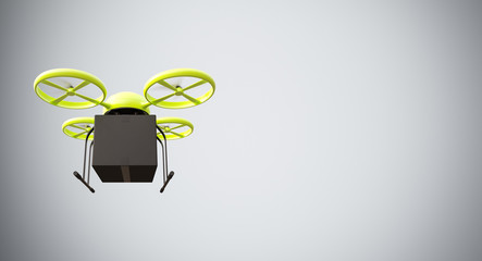 Green Color Material Generic Design Remote Control Air Drone Flying Black Box Under Empty Surface.Blank White Background.Global Cargo Express Delivery.Wide,Motion Blur effect.Front View 3D rendering