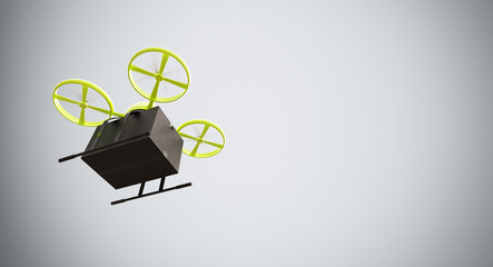 Green Color Material Generic Design Remote Control Air Drone Flying Black Box Under Empty Surface.Blank White Background.Global Cargo Express Delivery.Wide,Motion Blur.Left Side View 3D rendering