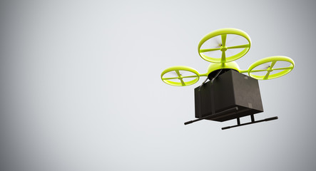 Green Color Material Generic Design Remote Control Air Drone Flying Black Box Under Empty Surface.Blank White Background.Global Cargo Express Delivery.Wide,Motion Blur.Right Side View 3D rendering