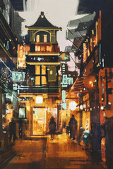 shopping place and cafes with illumination at night,illustration painting
