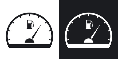 Fuel gauge icon, vector.  Two-tone version on black and white background