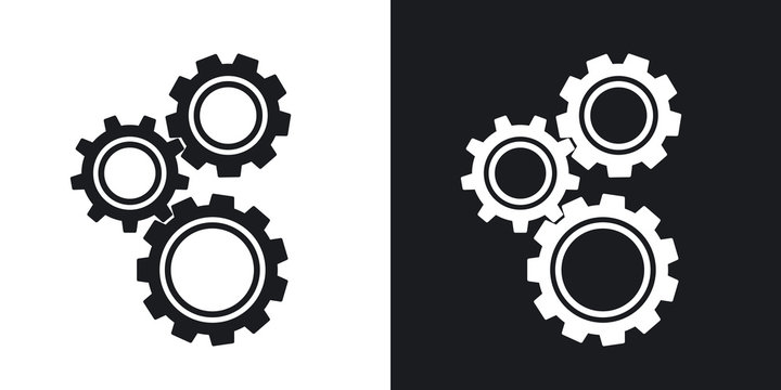 Gears or settings icon, stock vector.  Two-tone version on black and white background