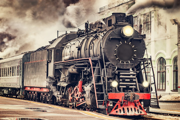 Retro steam train. Fotomurales