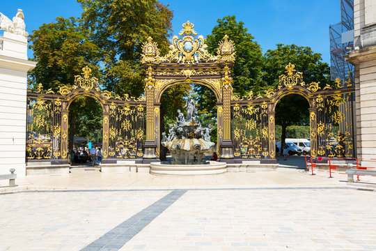 Nancy Stanislas square, Neptune fountain, Lorraine, France
