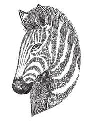 Hand drawn graphic ornate floral zebra head