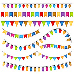 Garlands and flags on white background