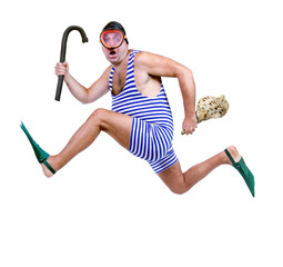 Man in swim dress running with snorkel isolated on white background