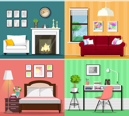 Set of colorful graphic room interiors with furniture icons: living rooms with sofa, window, armchair, fireplace; bedroom with bed and lamp; home office with desk, chair and flowerpot. Flat style.
