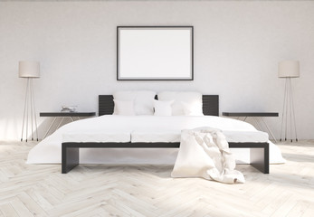 Bedroom interior with blank frame