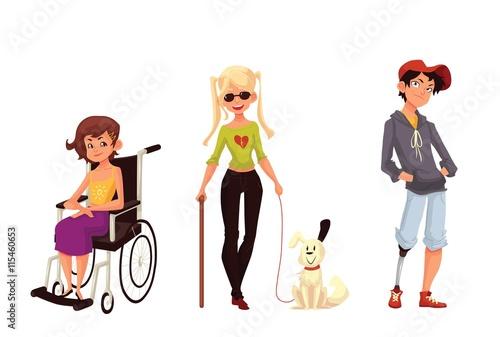 """Group Of Disabled Children, Cartoon Vector Illustration"