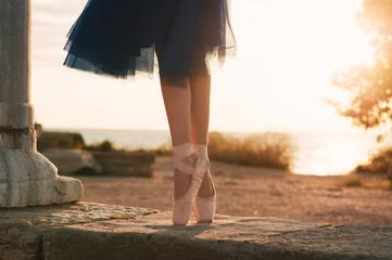 Ballet dancer's feet on sunset