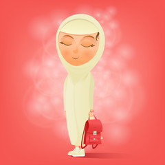 Muslim girl with school bag