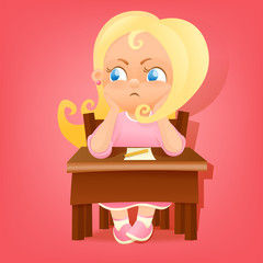 Illustration of a young girl in pink dress sitting at school table