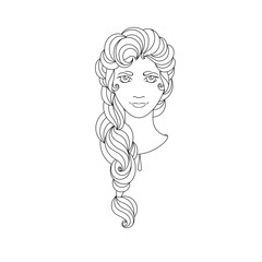 Young girl. Picture for coloring.