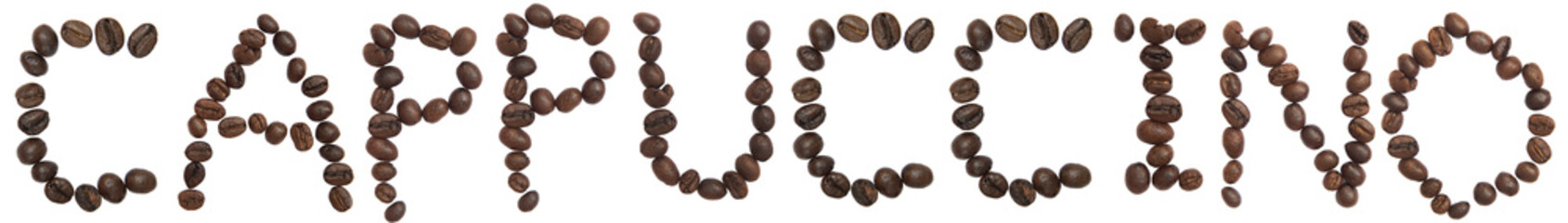 Isolated Word 'CAPPUCCINO' make from coffee bean on white backgr