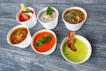 Variety of soups from different cuisines at blue wood