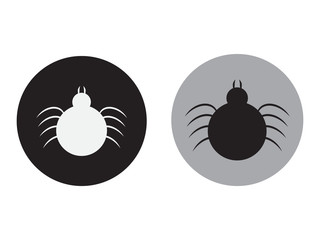 Tick icon vector. Mite sign isolated on white background. Encephalitis mite skin parasite silhouette. Vector flat design
