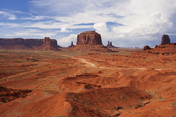 Beautiful rock formations in Monument Valley with a stormy sky