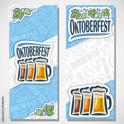 Vector Vertical Banners Bavarian Oktoberfest For Text Ticket