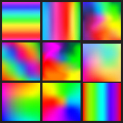 Set of rainbow mesh vector backgrounds