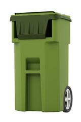 Green garbage, trash bin isolated
