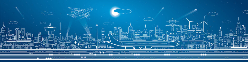 Wall Mural - Airport mega panorama, aircraft on runway, airplane takeoff, transport and infrastructure, night city on background, vector design art