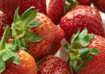 strawberries in a basket closeup. Fruit. Close-up shot. selective focus