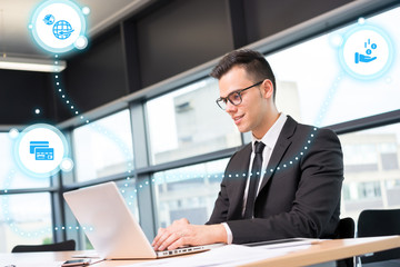 businessman working with new modern business & social media icon