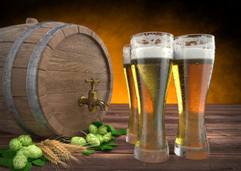 three glasses of beer with keg, barley and hops. 3D render
