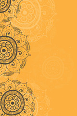Ethnic invitation card yellow  background