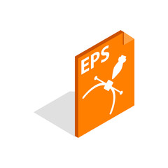 Eps file format icon in isometric 3d style isolated on white background