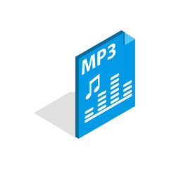 MP3 file format icon in isometric 3d style isolated on white background