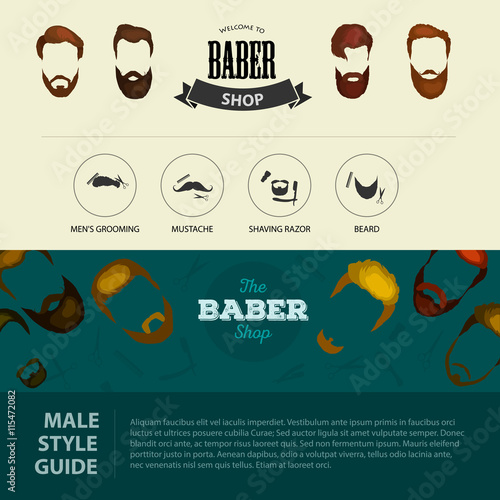 Mans hair set of beards and mustaches vector  Hipster style