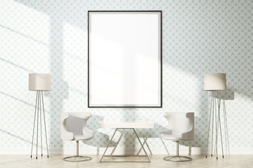 Furnished interior with frame