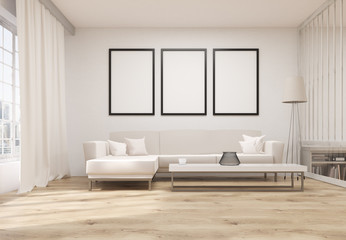 Living room with blank frames