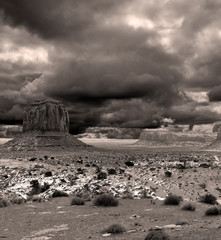Wall Mural - Sepia tone Monument Valley Cloudy Skies