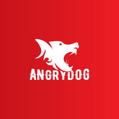 Isolated angry dog side view vector logo. Dangerous animal contour logotype.