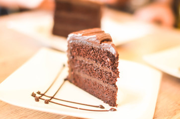 Slice of chocolate cake photo image