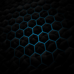 Abstract black Hexagon pattern background. Blue lighting. Geomet