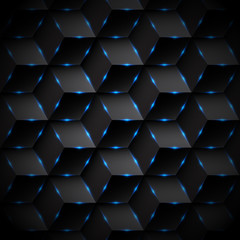Abstract black rectangle pattern background. Blue lighting. Geom