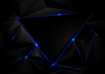 Abstract black triangle pattern background. Blue lighting. Geome