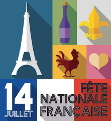 Set of French Elements with Long Shadow for Bastille Day, Vector Illustration