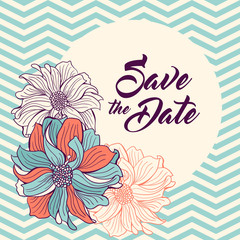 Save the Date card. Flowers on chevron background.