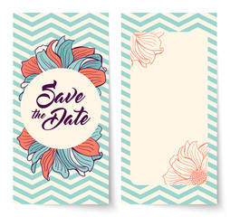 Save the Date card with lettering. Flowers on chevron background.