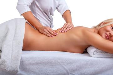 Female enjoing relaxing back massage.
