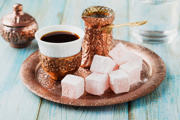 Traditionally brewed Turkish coffee. Specified in the original c