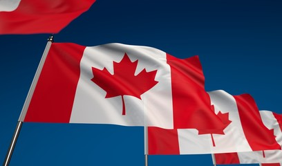 Canada flag on clear blue sky, photo realistic waving flag made by 3D graphics with depth of field blur, ultra high 42MP resolution