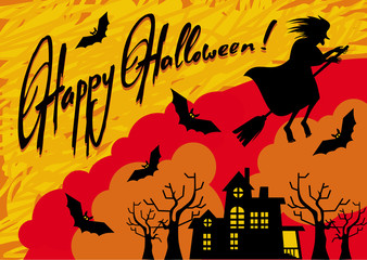 Wall Mural - Holiday card with silhouette of a witch flying on broom and holiday greeting